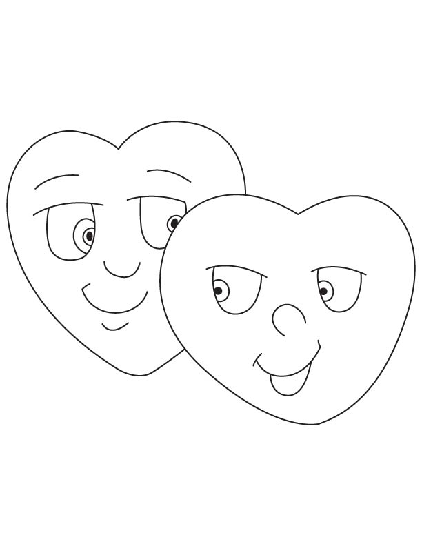 Two sweet hearts coloring page
