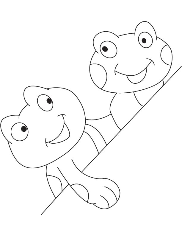Two tadpoles coloring page