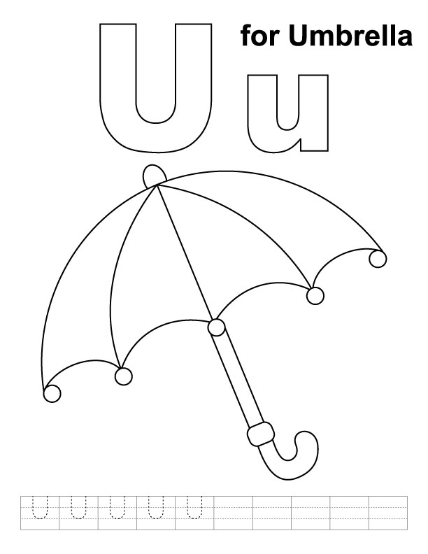 Coloring Pages For U : U for umbrella coloring page with handwriting practice