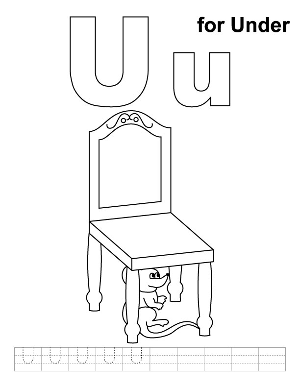 U for under coloring page with handwriting practice