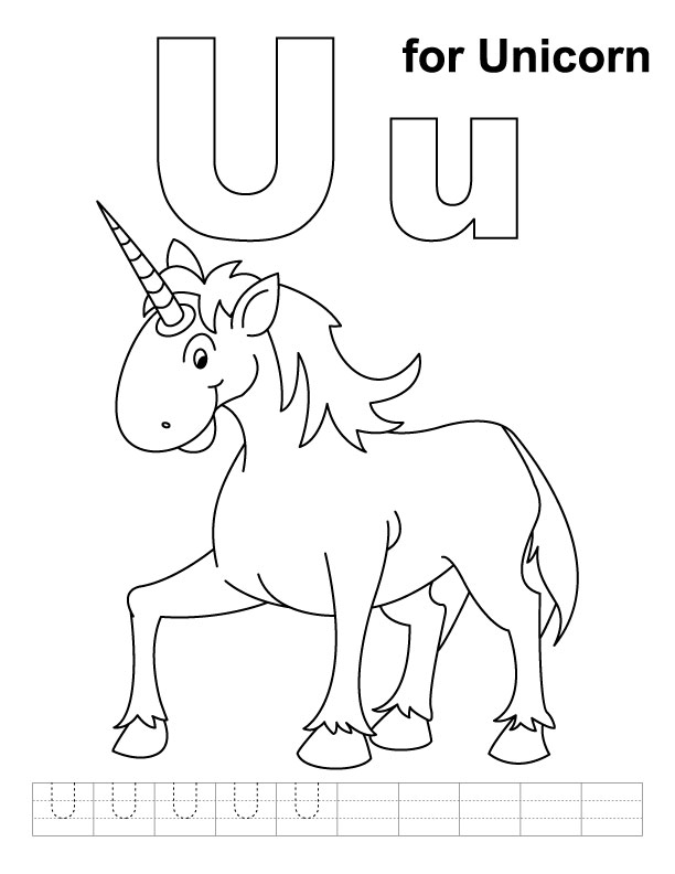 U for unicorn coloring page with handwriting practice for Letter u coloring pages