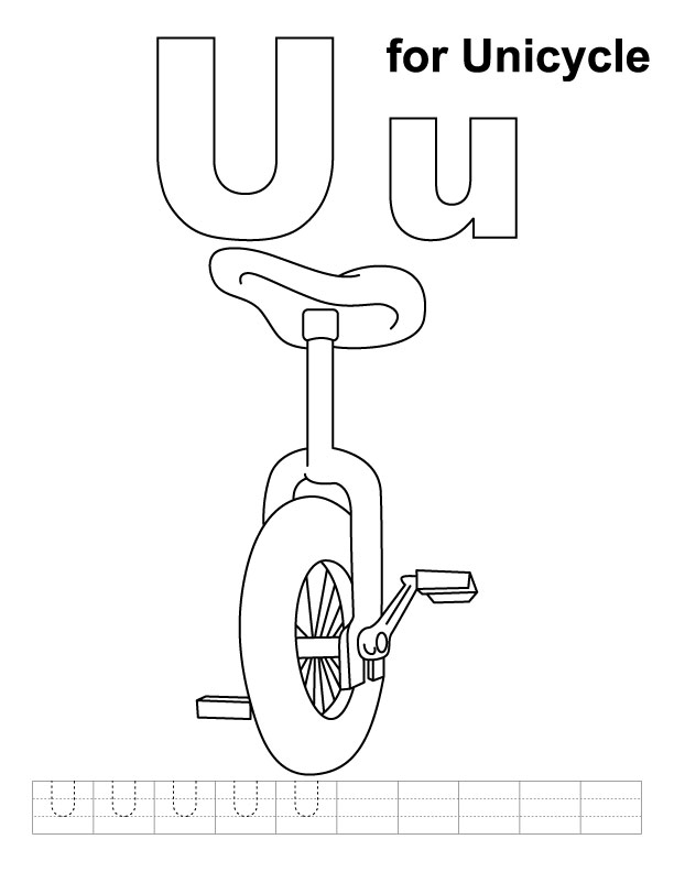 U for unicycle coloring page with handwriting practice