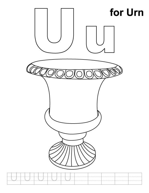 U for urn coloring page with handwriting practice