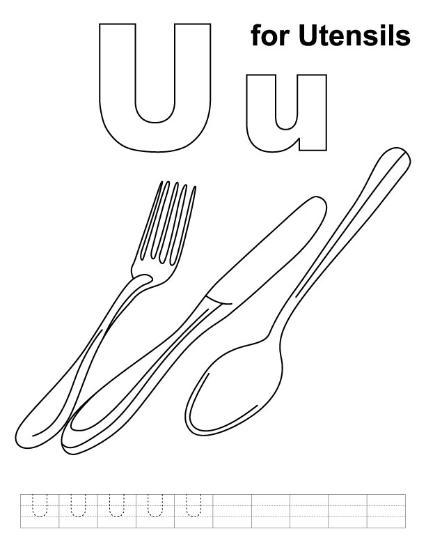 U for utensils coloring page with handwriting practice
