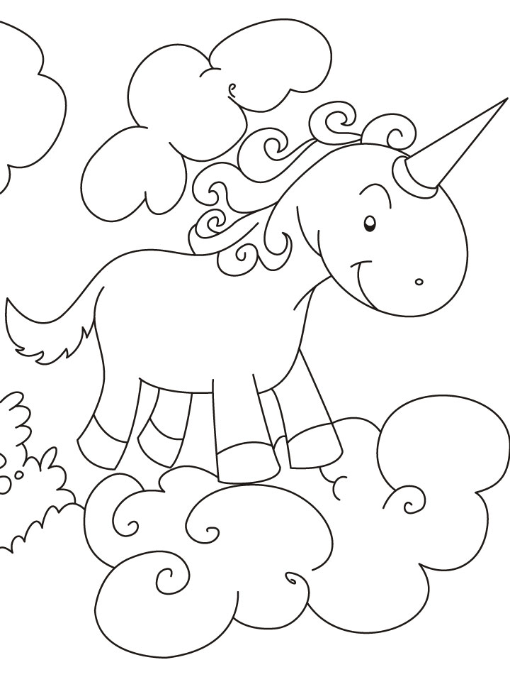 Unicorn flying above clouds coloring