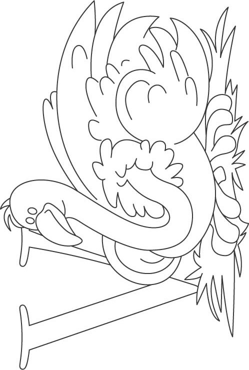 V for vulture coloring page for kids