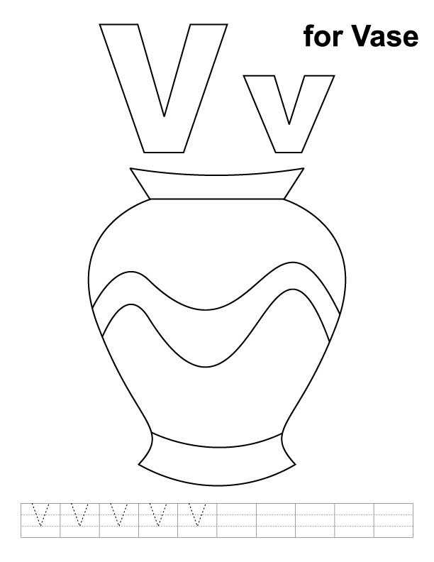 v is for vase coloring pages - photo #3