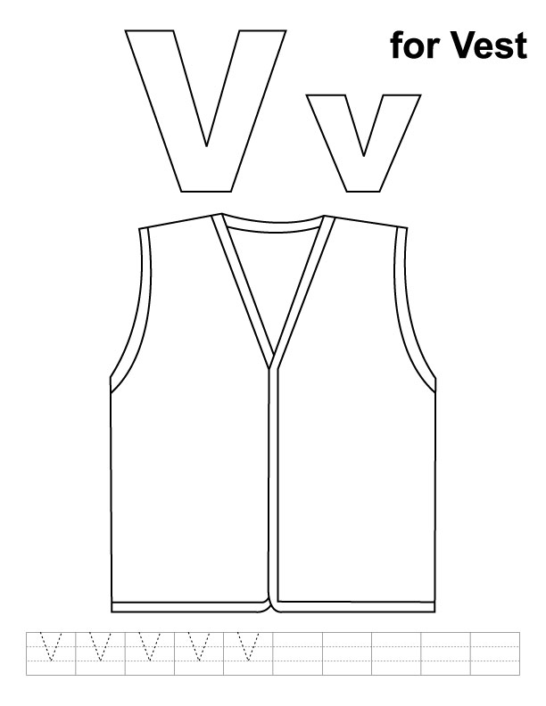 v for vest coloring page with handwriting practice