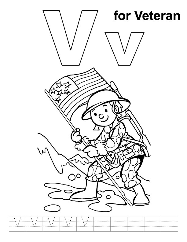 V for veteran coloring page with handwriting practice