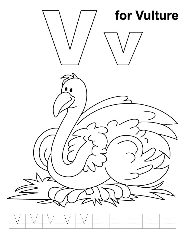 V for vulture coloring page with handwriting practice
