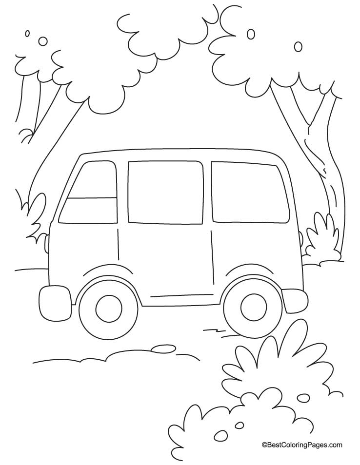 Simple Van Coloring Page