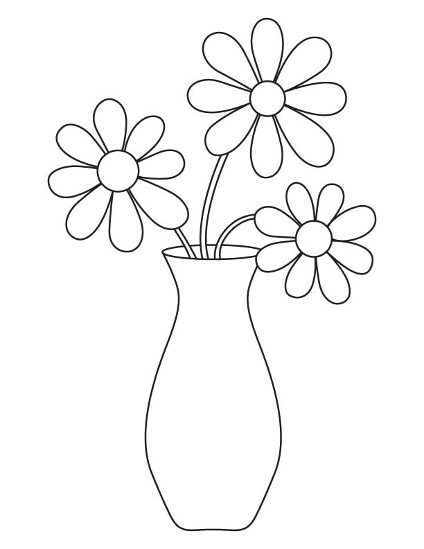 Flower vase coloring page  Download Free
