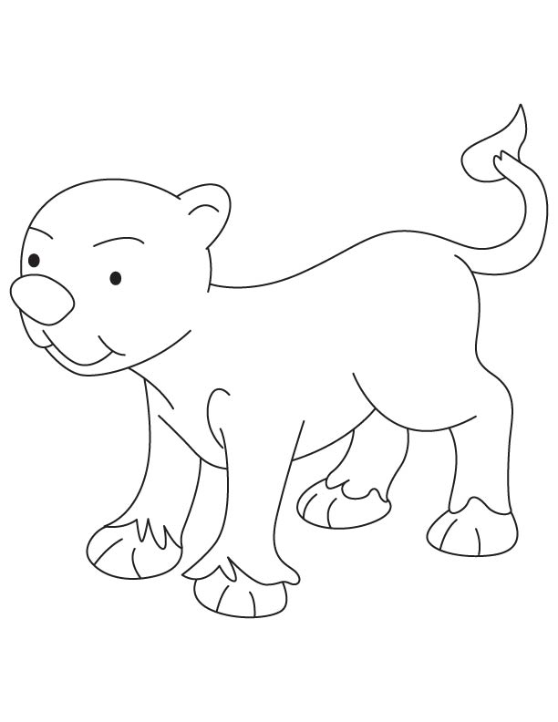 Very small lion cub coloring page