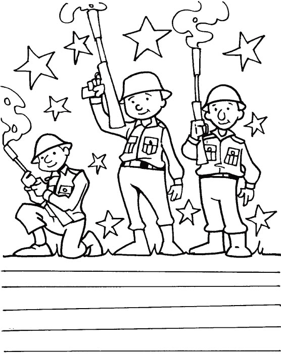 Gun salute to the veterans for serving our country coloring page