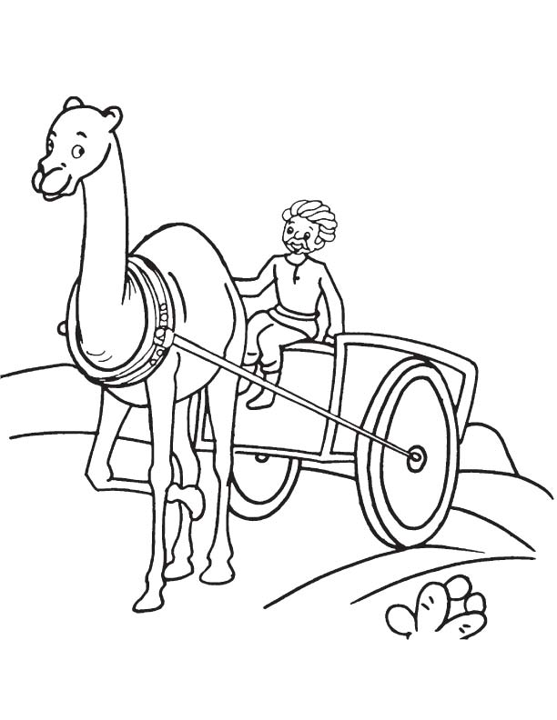 Villager On Camel Cart Coloring Page