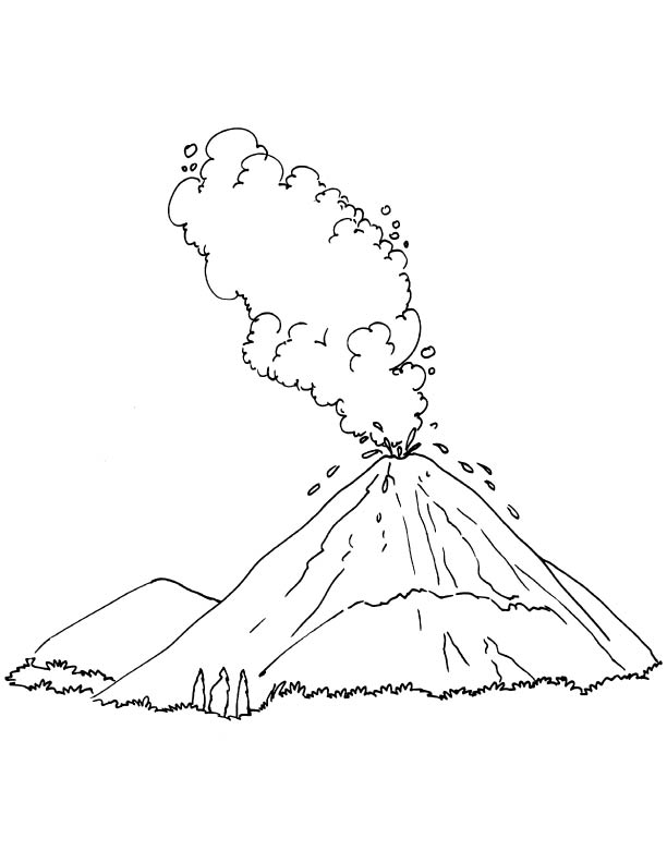 Free Coloring Pages Of Volcano Eruption