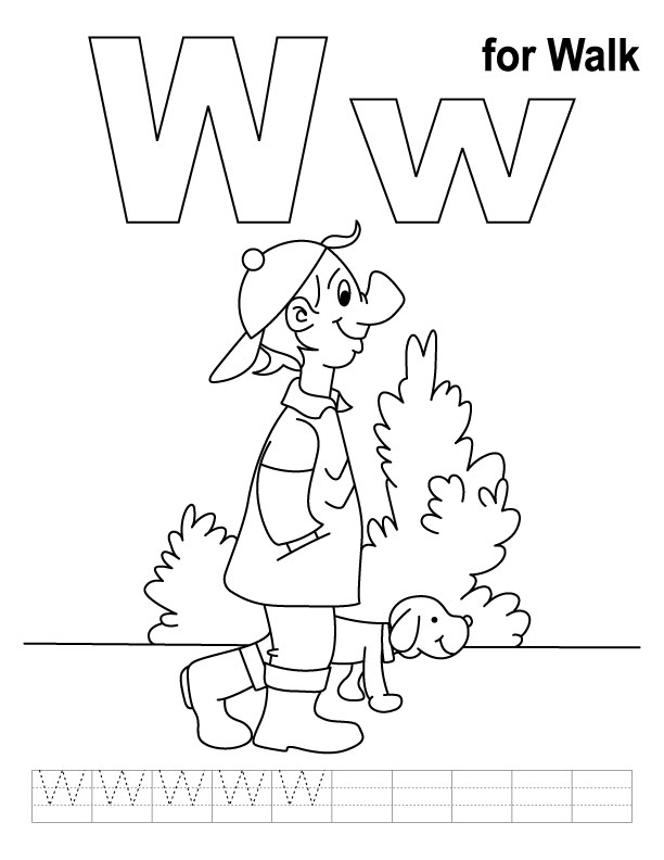 W for walk coloring page with handwriting practice