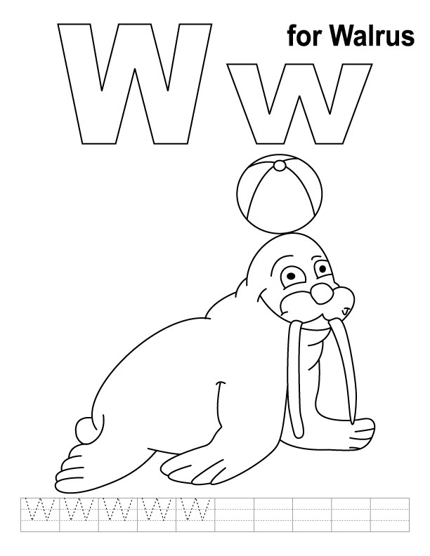 W for walrus coloring page with handwriting practice Download