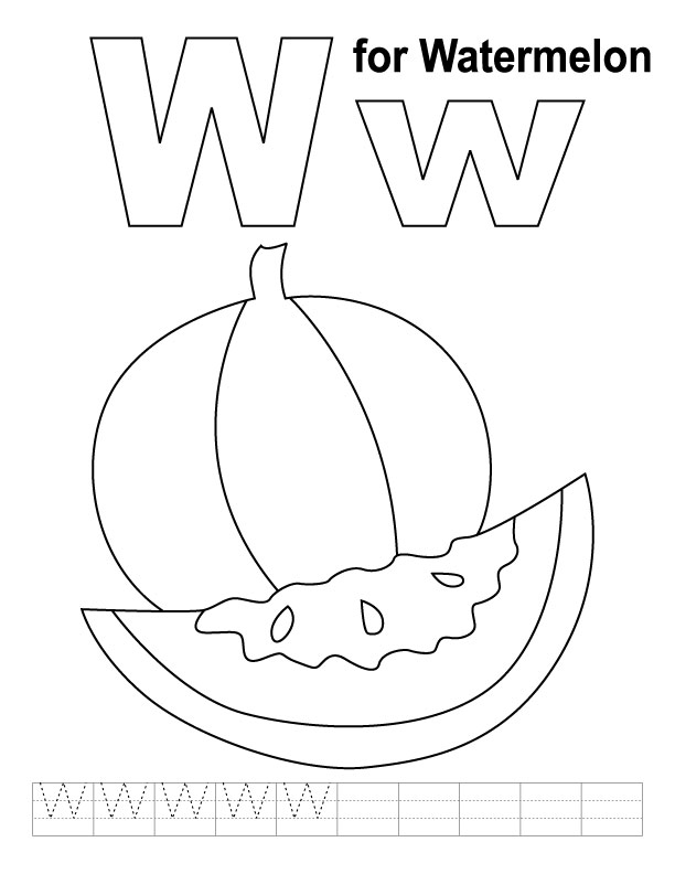 W for watermelon coloring page with handwriting practice ...
