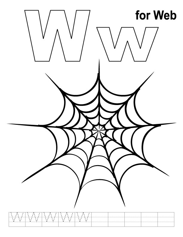 W for web coloring page with handwriting practice | Download Free ...