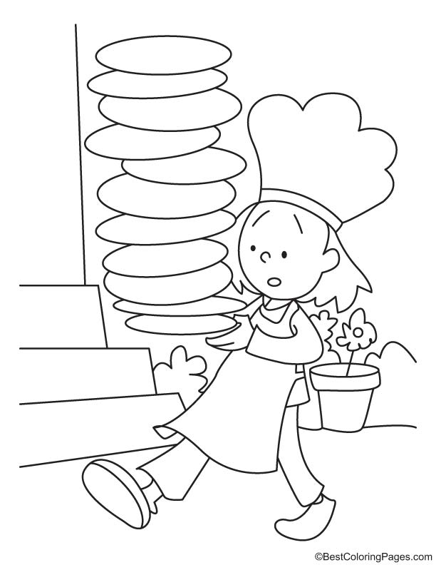 waitress coloring pages - photo#10