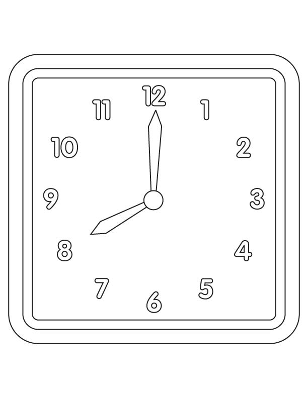 Wall Clock Coloring Page