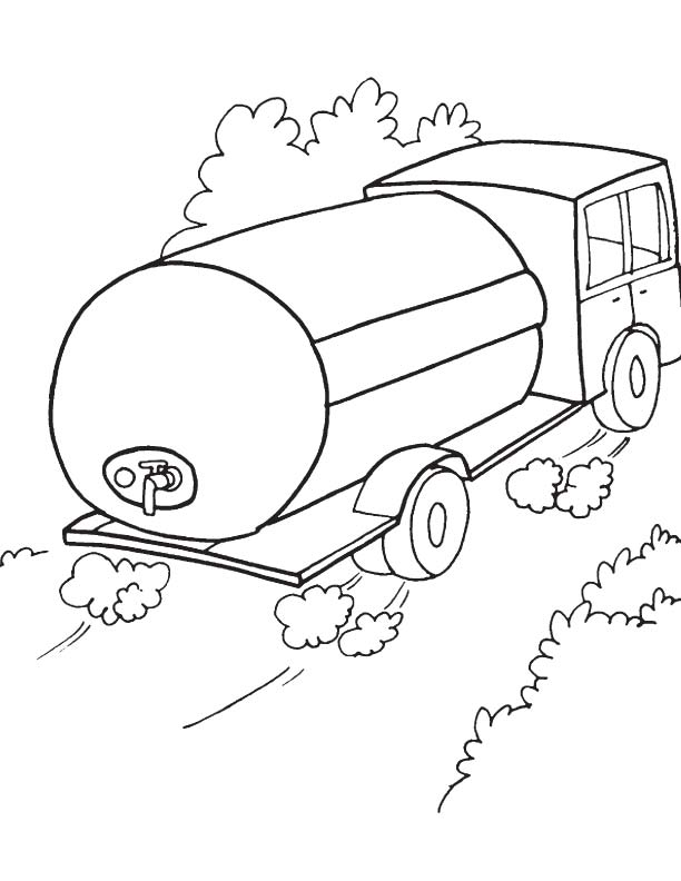 Water tank truck coloring page | Download Free Water tank ...