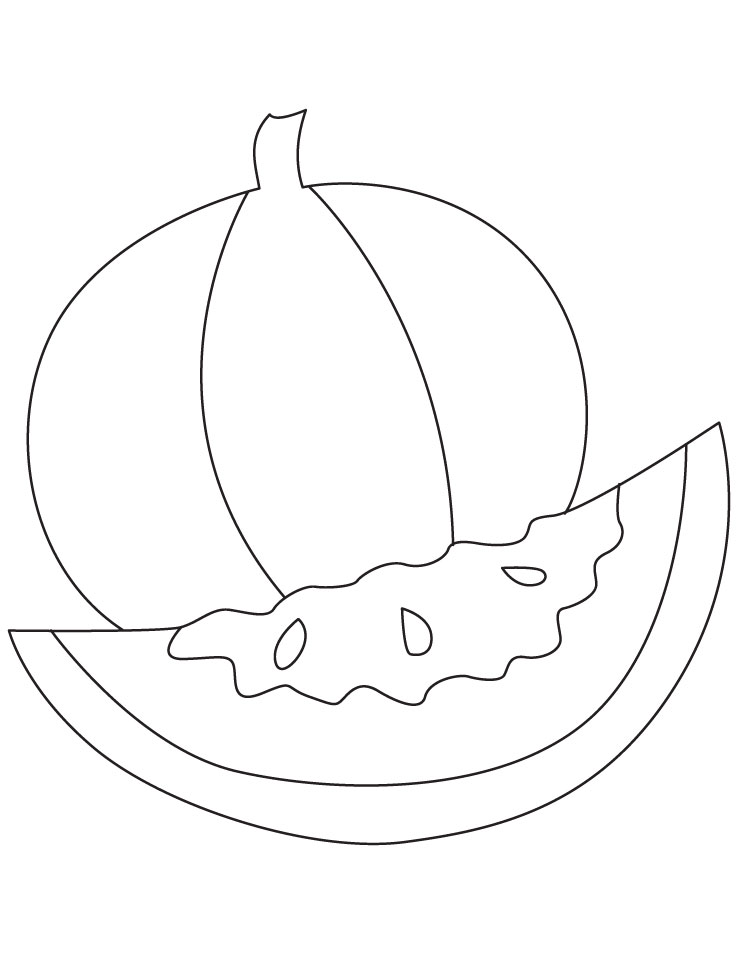 healthy watermelon coloring pages - Slice Watermelon Coloring Page