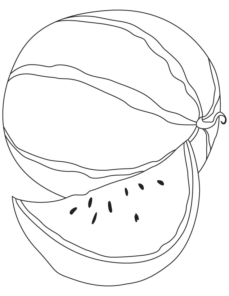 Delicious watermelon with a slice coloring page | Download Free ...