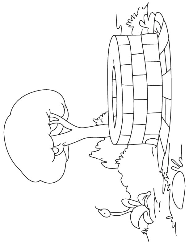 Well in village coloring page