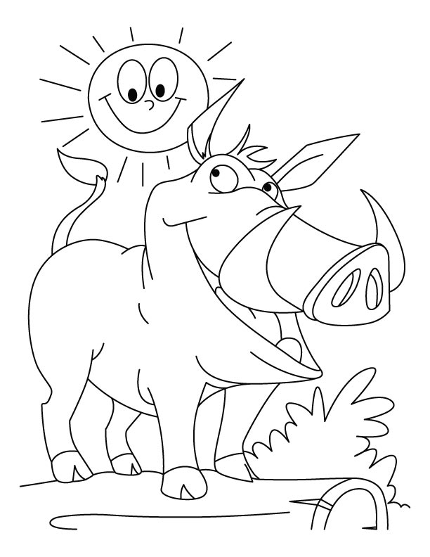 Sun and Wild Boar, smiling together coloring page