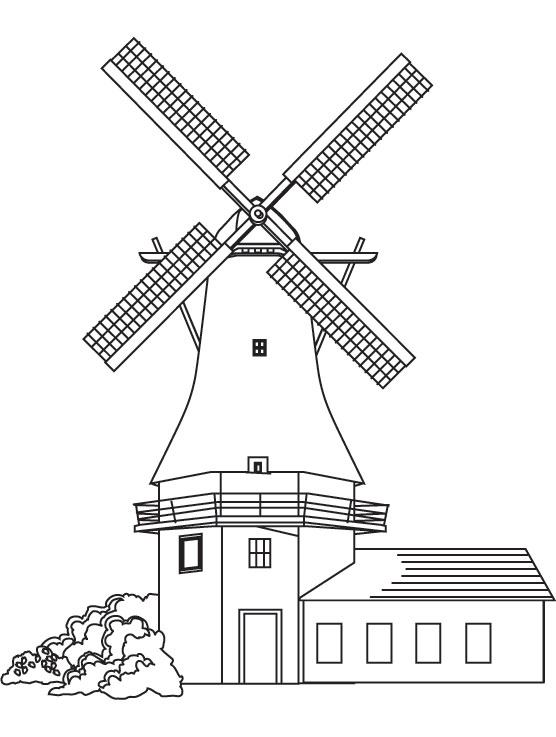 Huge windmill coloring page
