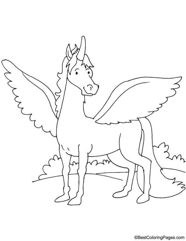Winged horse coloring page