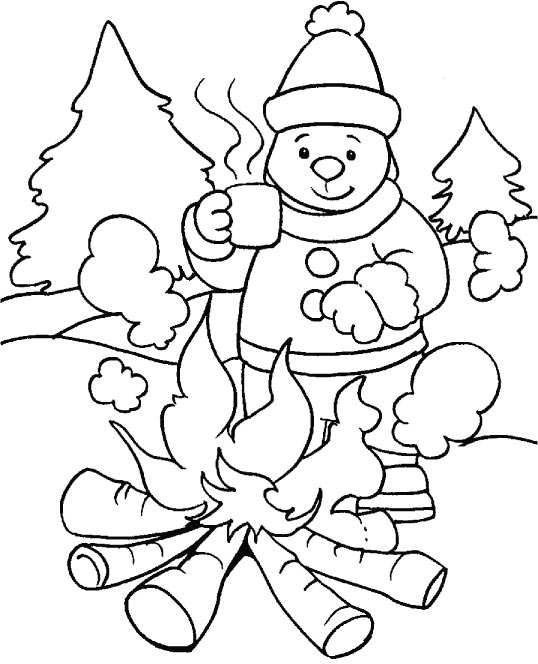 bonfire a hot cup of coffee in winter is most ideal coloring page