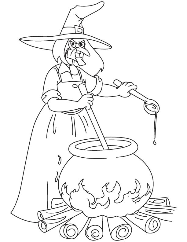 Witch making food for ghost coloring page