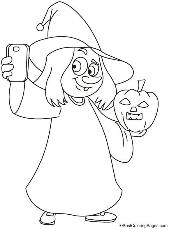 Witch with pumpkin taking selfie coloring page