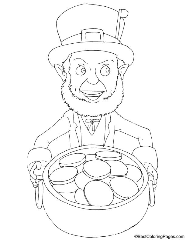 With a pot of gold coloring page