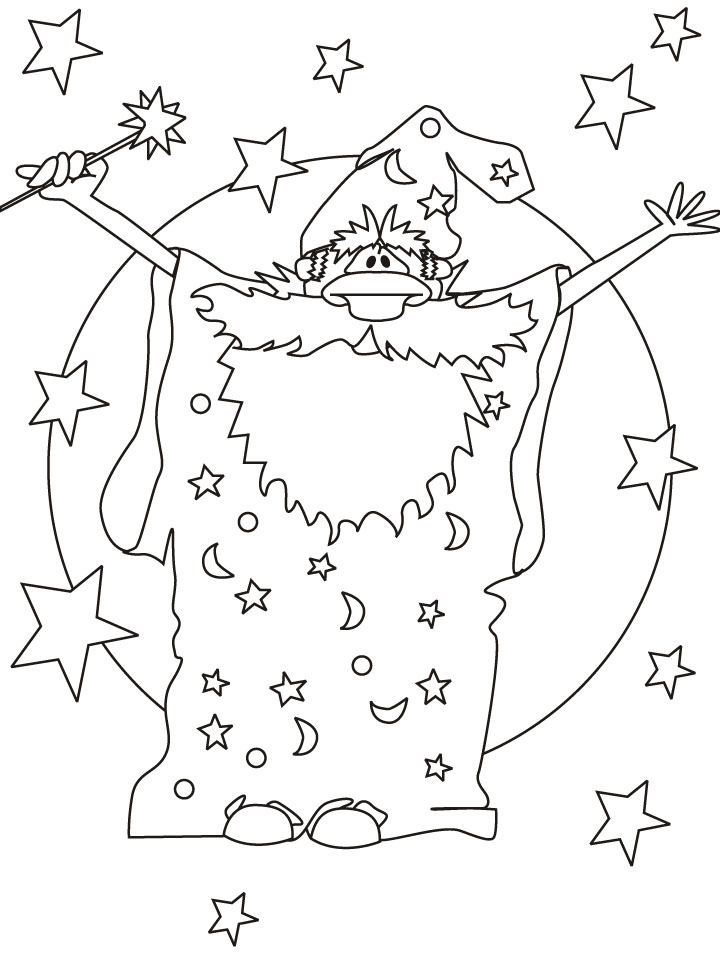 Magician wizard coloring pages download free magician for Wizard coloring pages