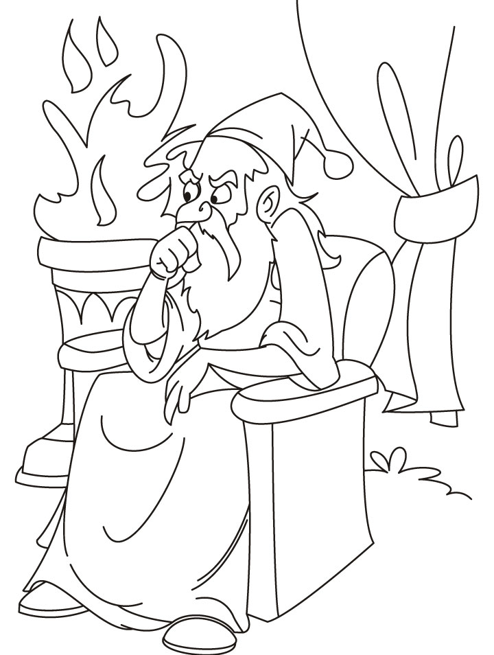 Wand Coloring Page Thinking Wizard Coloring Page