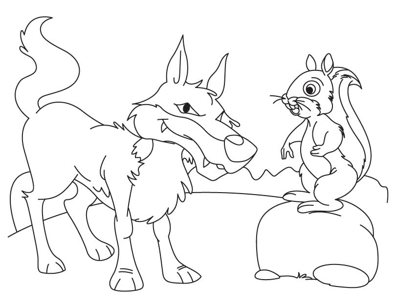 Wolf and squirrel coloring page