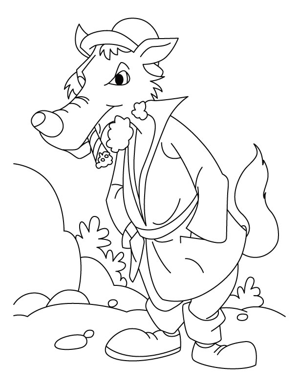 Wolf walking after dinner coloring pages