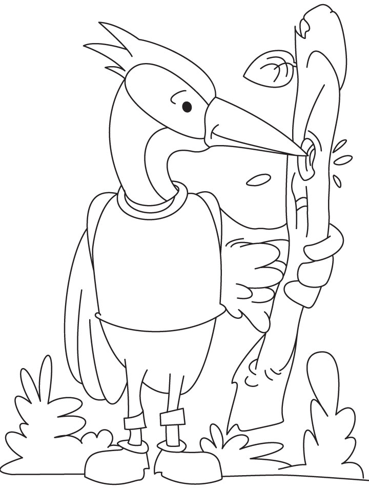 Cheerful woodpecker coloring pages  Download Free Cheerful