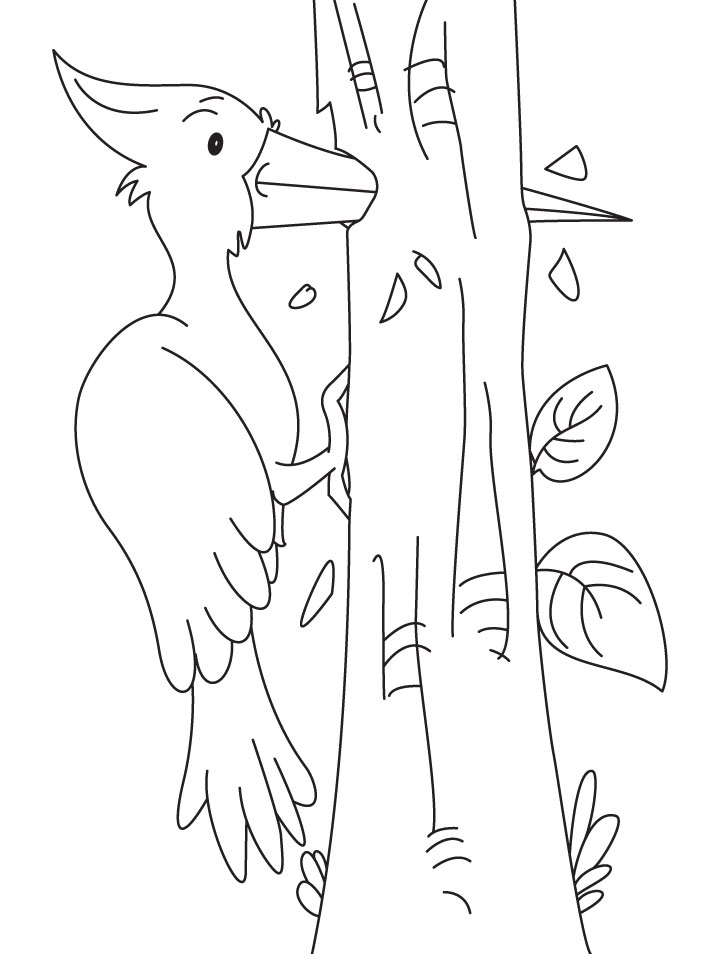 Powerful woodpecker coloring pages  Download Free Powerful