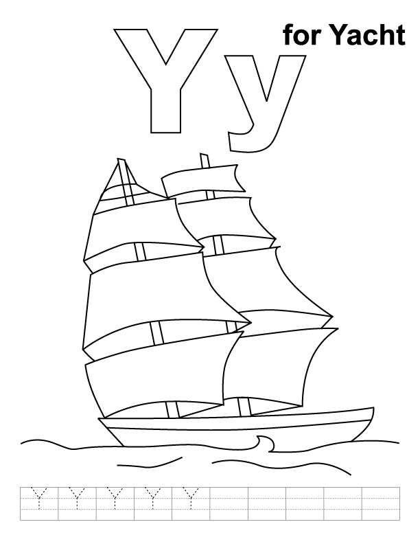 Y for yacht coloring page with handwriting practice Download