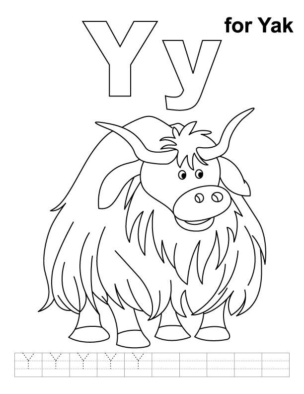 Y for yak coloring page with handwriting practice Download Free