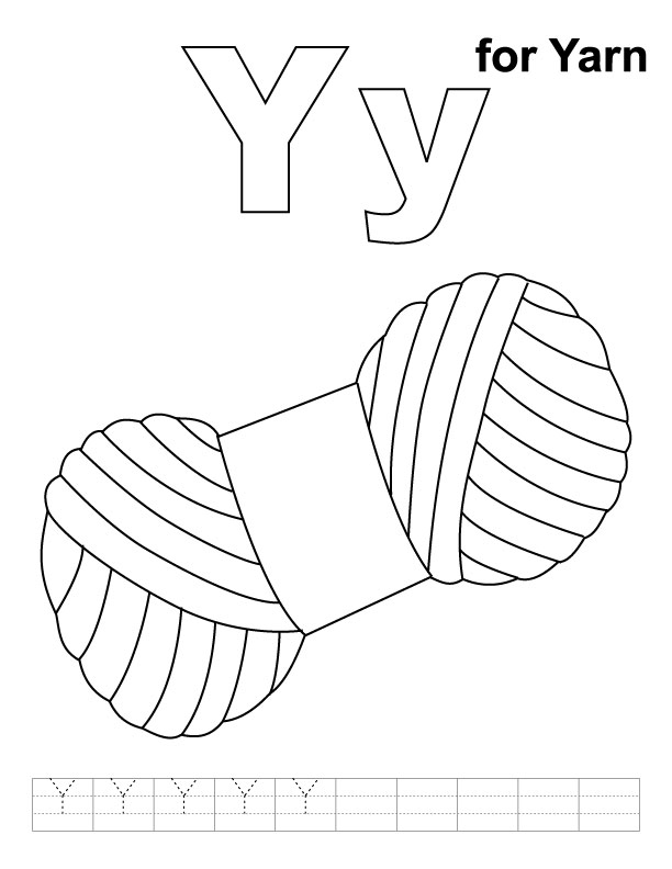 Y for yarn coloring page with handwriting practice Download Free