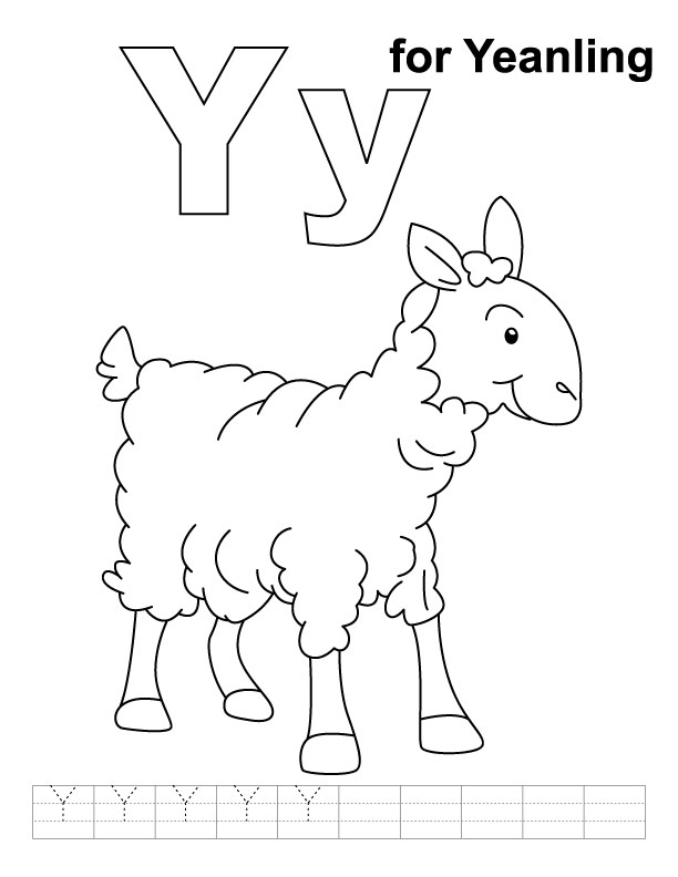 Y for yeanling coloring page with handwriting practice