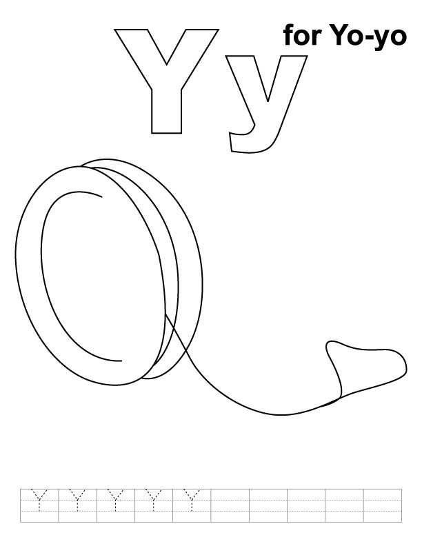 Y for yo-yo coloring page with handwriting practice
