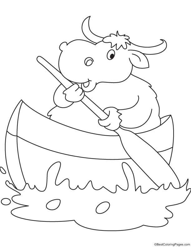 Yak Boating Coloring Page