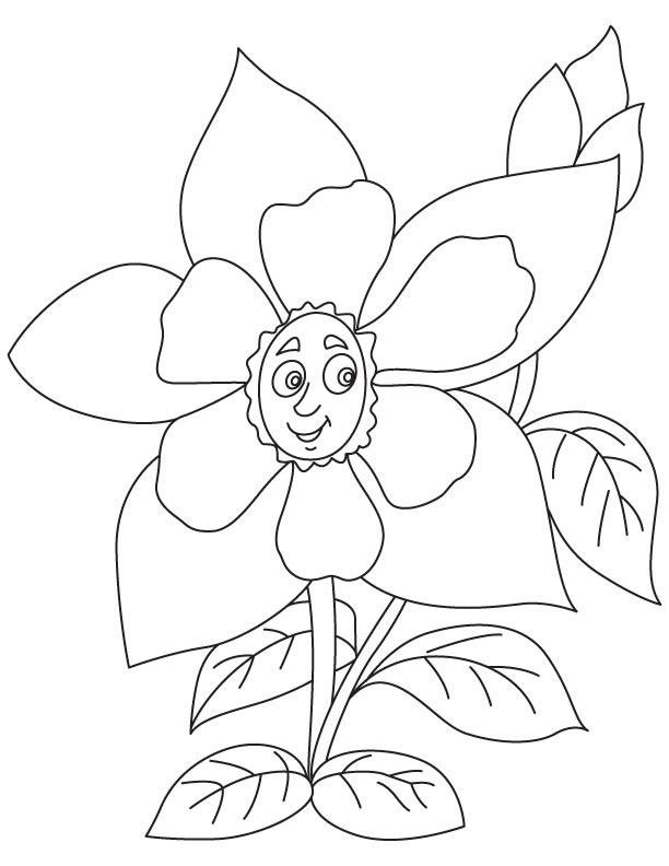 Yellow Columbine Flower Coloring Page